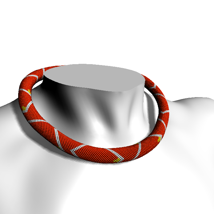 White on Red (beaded rope pattern)