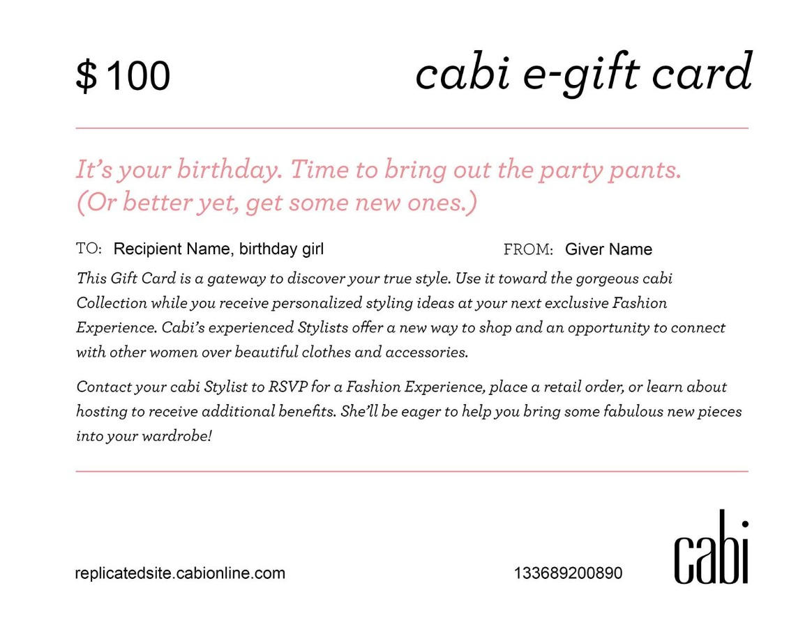 $100 cabionline gift card