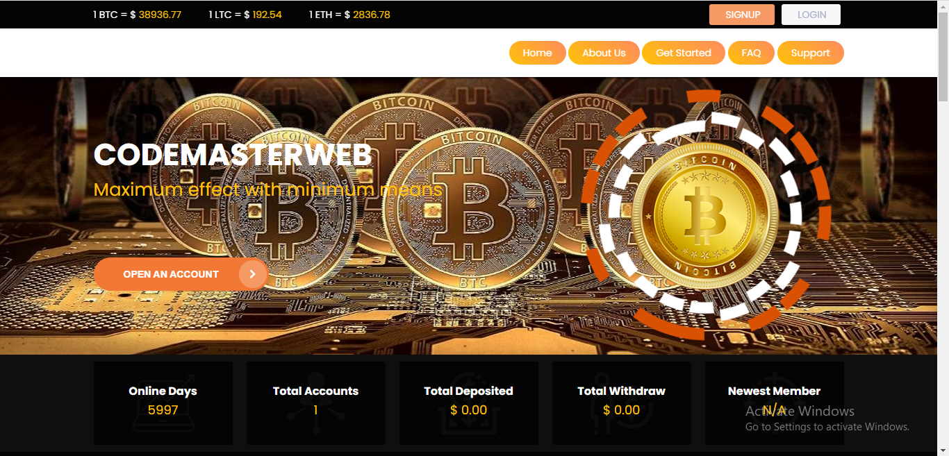 Bitcoin hyip investment website with domain and hosting