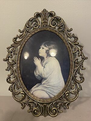 Vintage Ornate Oval Convex glass Metal Picture Frame Ma