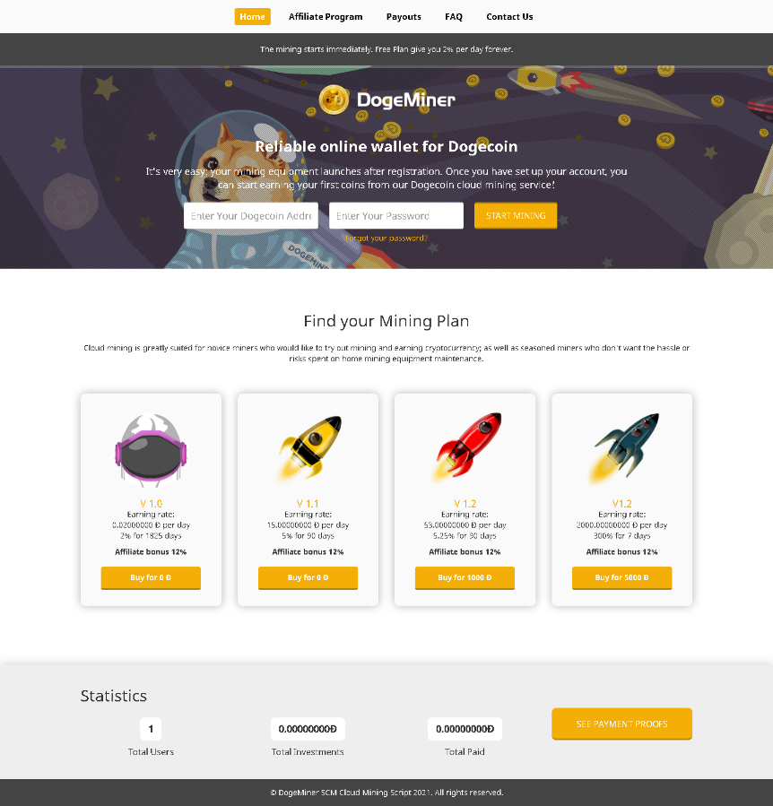 Cloud mining Dogecoin - With affiliate system!