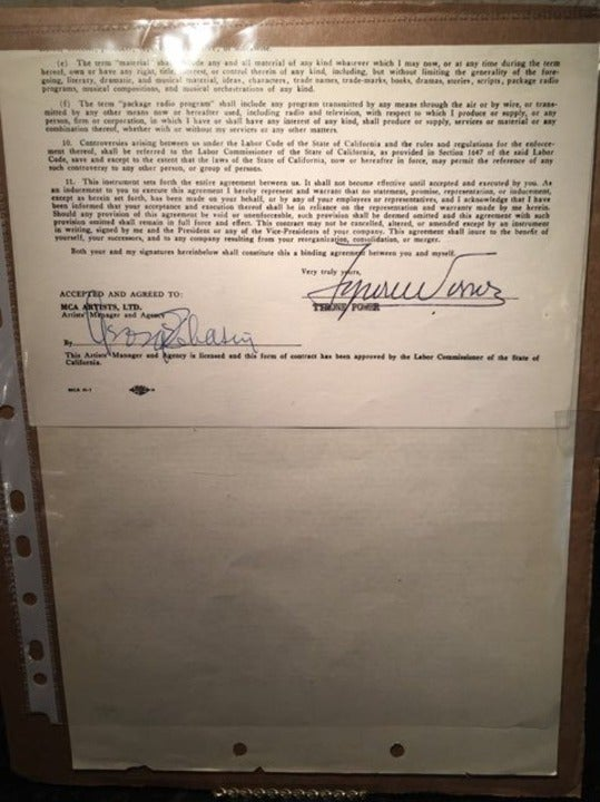 Tyrone Power Signed Contract Autograph