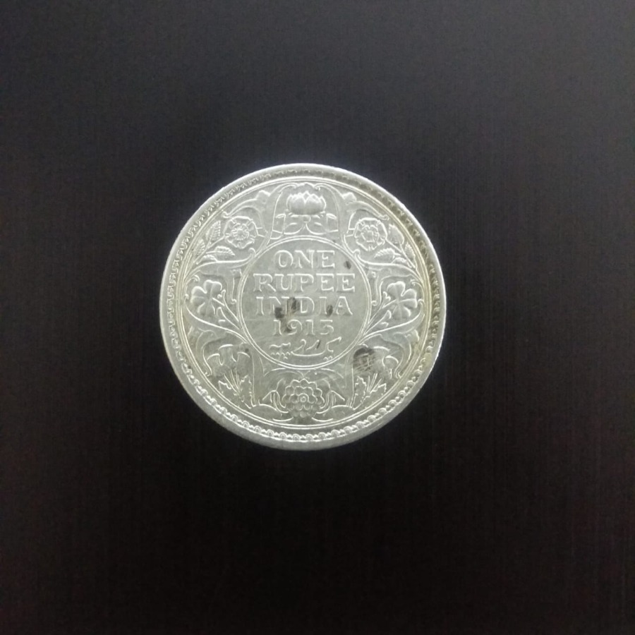 1913 silver one rupee british india coin