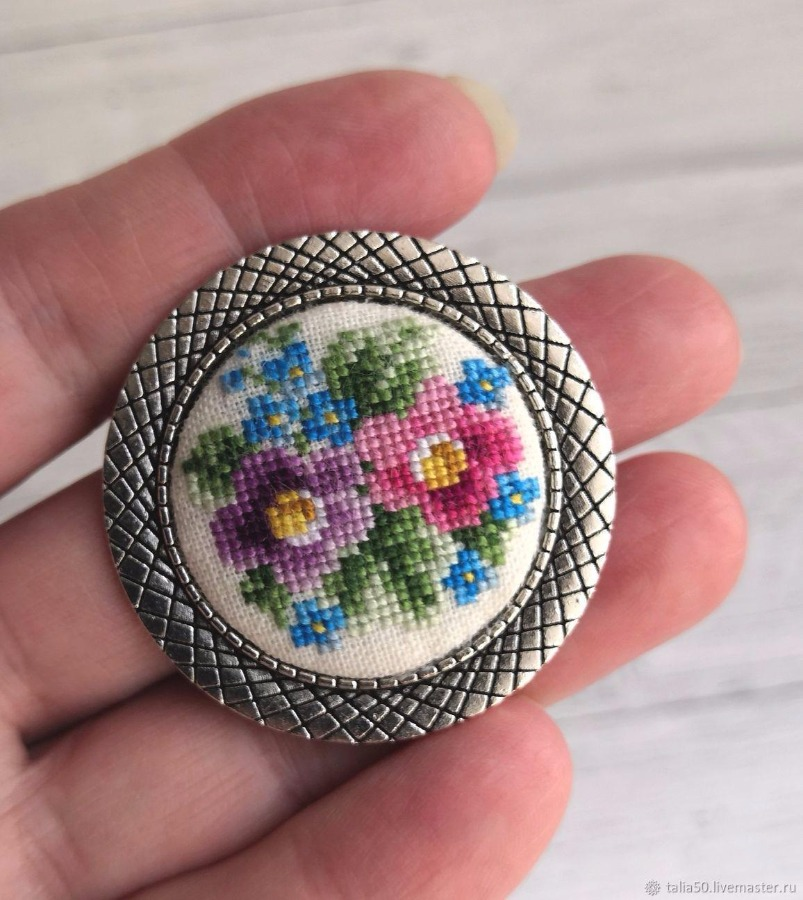 Handmade Brooch with embroidery
